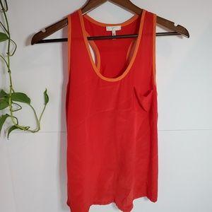 Joie red orange silk tank top XS